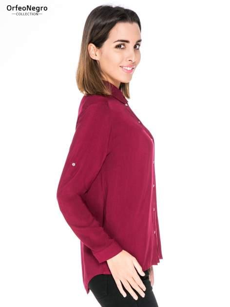 Bordowa koszula damska z zamkiem z tyłu                                  zdj.                                  3