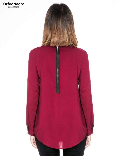 Bordowa koszula damska z zamkiem z tyłu                                  zdj.                                  4