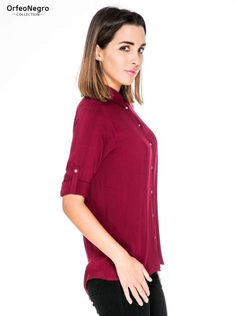 Bordowa koszula damska z zamkiem z tyłu                                  zdj.                                  5