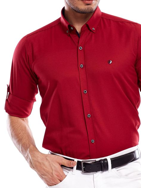 Bordowa koszula męska regular fit z podwijanymi rękawami                               zdj.                              6