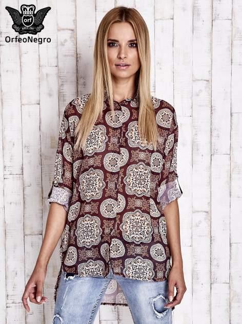 Bordowa koszula w ornamenty kwiatowe                                  zdj.                                  5