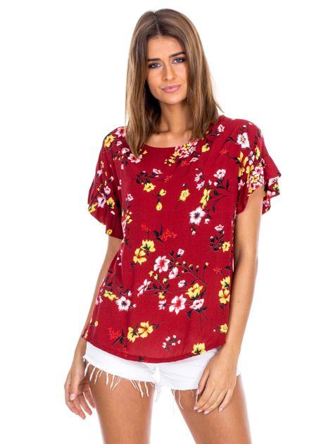 Bordowa kwiatowa bluzka z falbanami na rękawach                              zdj.                              1