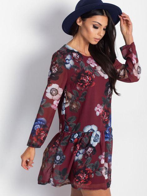 Bordowa kwiatowa sukienka                              zdj.                              1