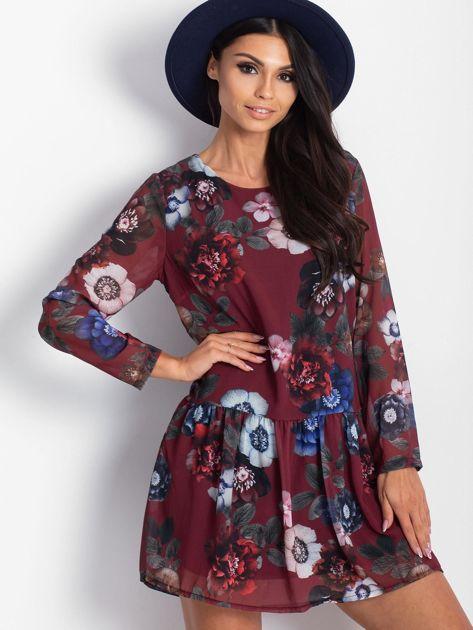 Bordowa kwiatowa sukienka                              zdj.                              3