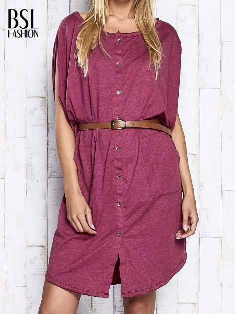 Bordowa melanżowa sukienka oversize z guzikami                                  zdj.                                  1