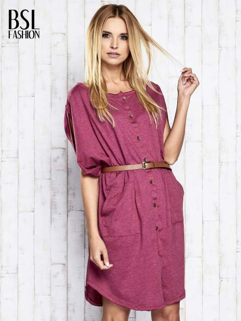 Bordowa melanżowa sukienka oversize z guzikami                                  zdj.                                  3