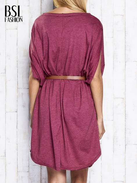 Bordowa melanżowa sukienka oversize z guzikami                                  zdj.                                  5