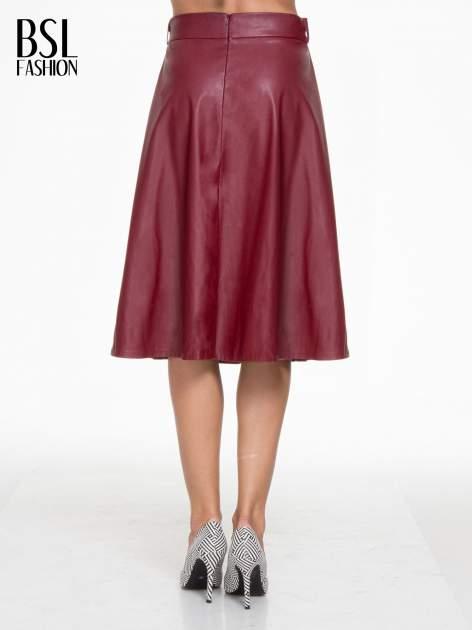 Bordowa skórzana spódnica midi szyta z półkola                                  zdj.                                  4