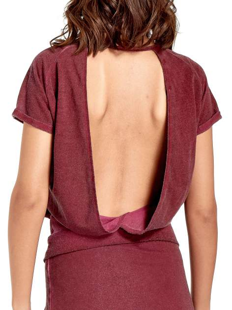 Bordowa sukienka maxi z dekoltem na plecach                                  zdj.                                  7