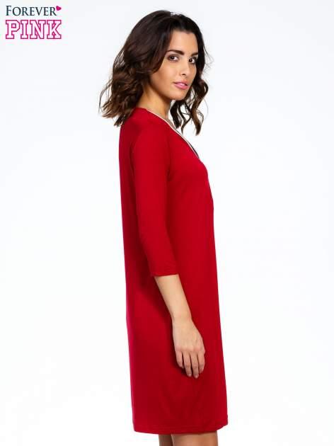 Bordowa sukienka z suwakiem                                  zdj.                                  3