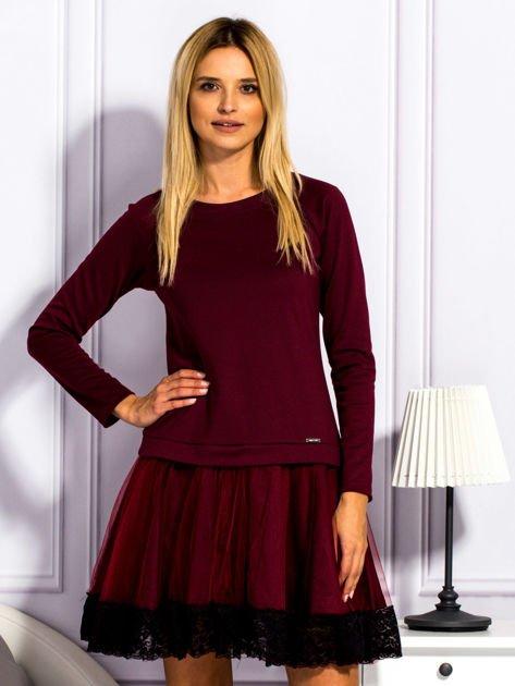 Bordowa sukienka z tiulową spódnicą                                  zdj.                                  1