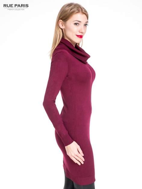 Bordowa swetrowa sukienka z golfem                                  zdj.                                  5