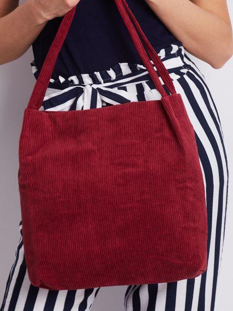 Bordowa sztruksowa torebka                              zdj.                              3