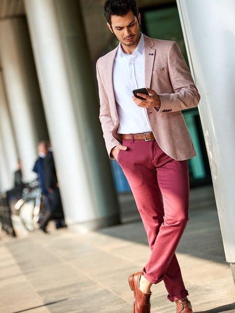 Bordowe bawełniane spodnie męskie chinosy                                   zdj.                                  1