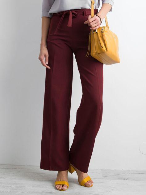 Bordowe damskie szerokie spodnie                              zdj.                              1