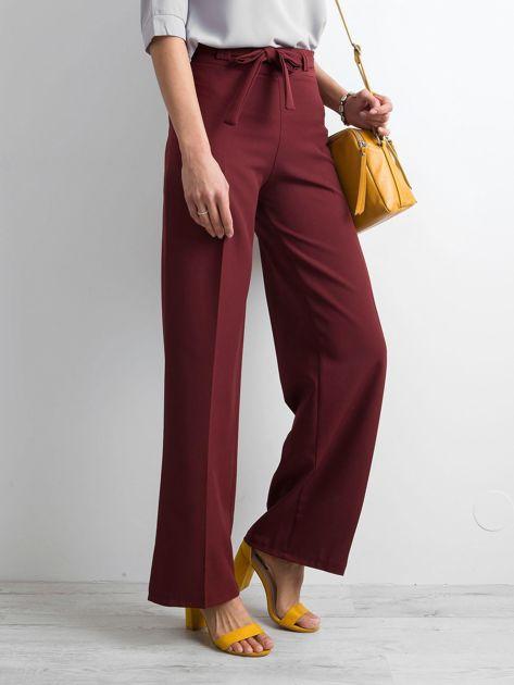 Bordowe damskie szerokie spodnie                              zdj.                              3