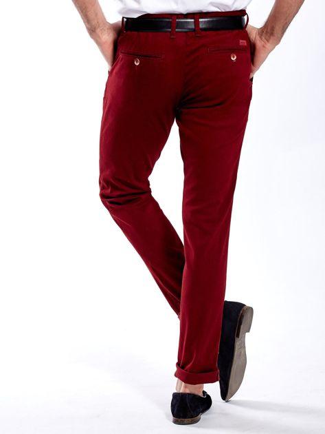 Bordowe spodnie męskie chinos                              zdj.                              2