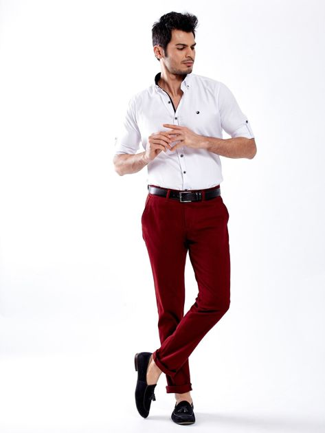 Bordowe spodnie męskie chinos                              zdj.                              7