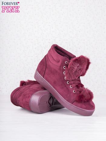 Bordowe sznurowane sneakersy Keris z zamszu z perłową podeszwą                                   zdj.                                  4