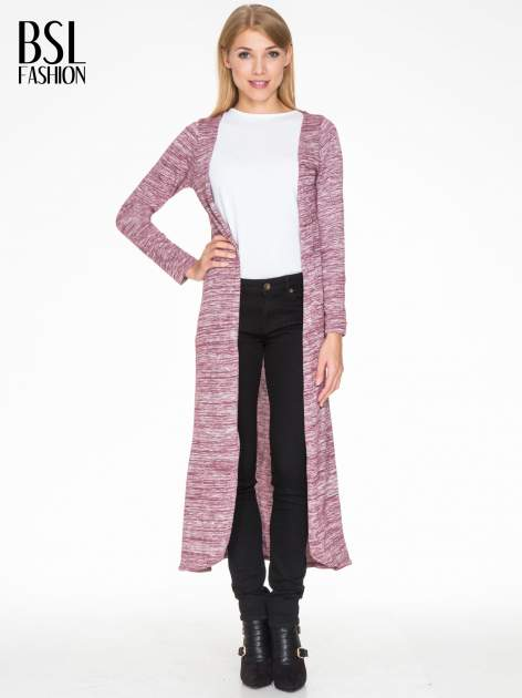 Bordowy melanżowy długi sweter typu kardigan                                  zdj.                                  1
