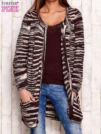 Bordowy otwarty melanżowy sweter                                   zdj.                                  1