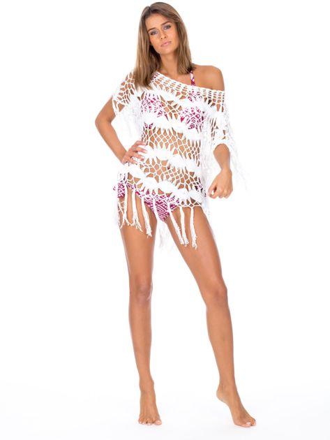 Bordowy strój kąpielowy bikini w geometryczne wzory                              zdj.                              6
