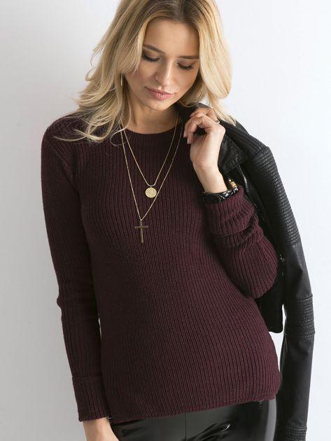 Bordowy sweter z podwijanymi rękawami                              zdj.                              1