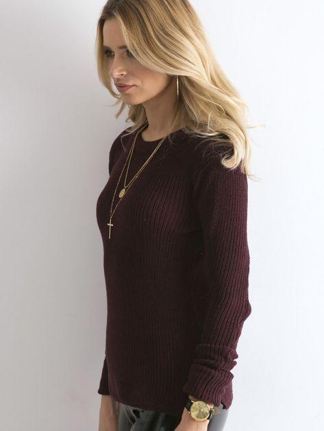 Bordowy sweter z podwijanymi rękawami                              zdj.                              3