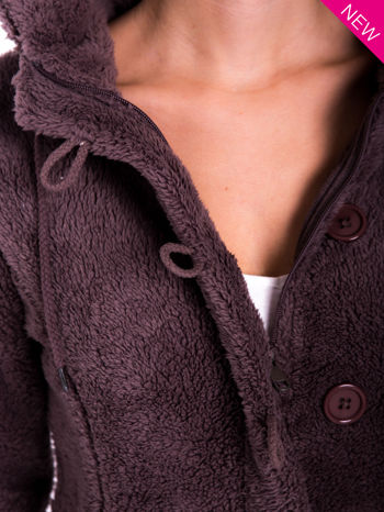 Brązowa bluza futerkowa z kapturem i rękawami z otworem na kciuk                                  zdj.                                  5