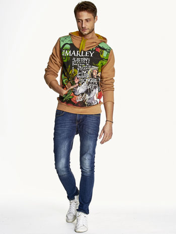Brązowa bluza męska z kapturem z nadrukiem reggae                                  zdj.                                  4