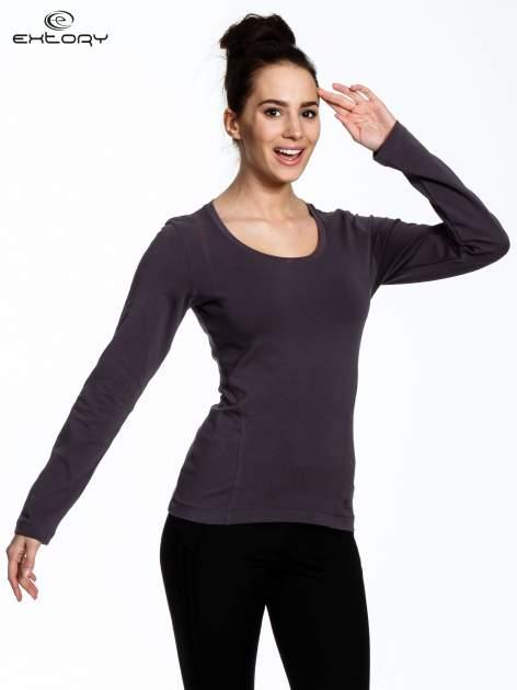 Brązowa bluzka sportowa z dekoltem U