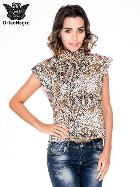 Brązowa bluzka z motywem snake print                                  zdj.                                  1