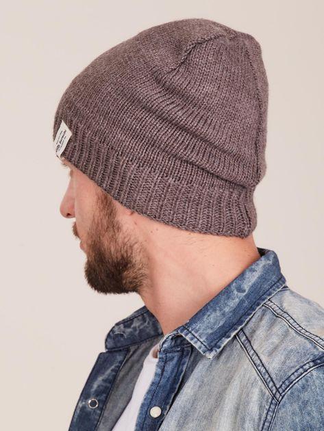 Brązowa czapka męska z motywem geometrycznym                              zdj.                              3