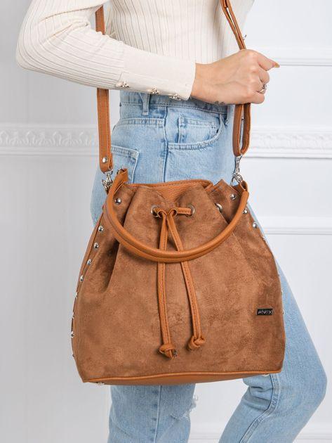 Brązowa damska torba worek