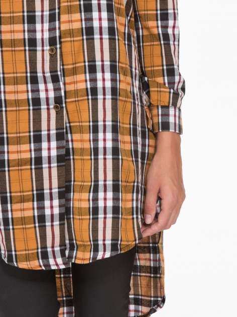 Brązowa długa koszula w kratę w kratę z kieszeniami                                  zdj.                                  5