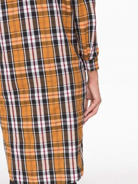 Brązowa długa koszula w kratę w kratę z kieszeniami                                  zdj.                                  8