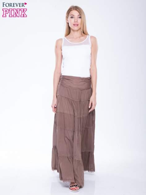 Brązowa długa spódnica maxi w stylu boho                                  zdj.                                  2
