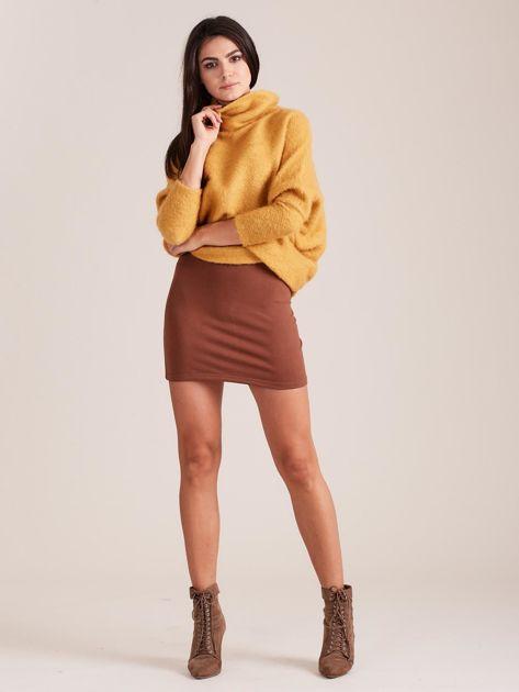 Brązowa dresowa spódnica mini                              zdj.                              4