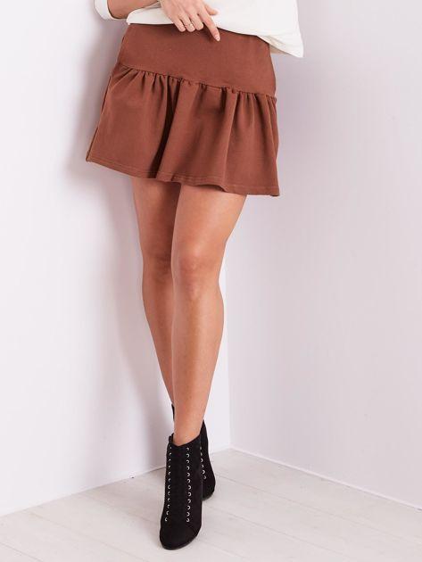 Brązowa dresowa spódnica z falbaną                               zdj.                              5
