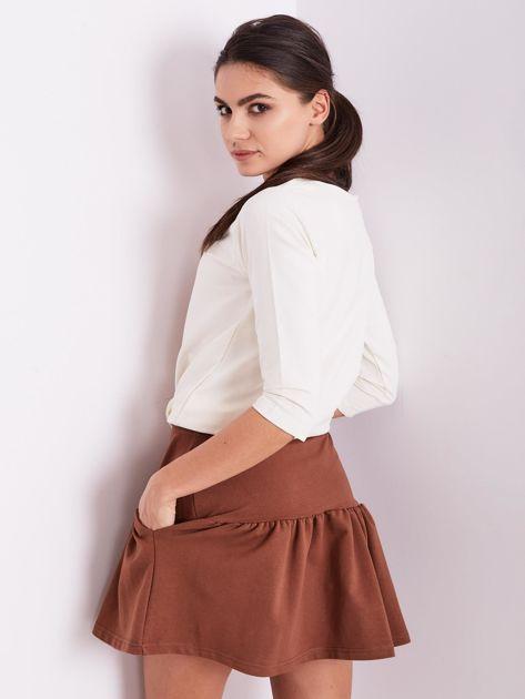 Brązowa dresowa spódnica z falbaną                               zdj.                              10