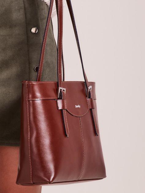 Brązowa elegancka torebka za skóry                              zdj.                              2