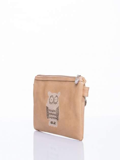 Brązowa kopertówka z dżetami motyw sowy                                  zdj.                                  3