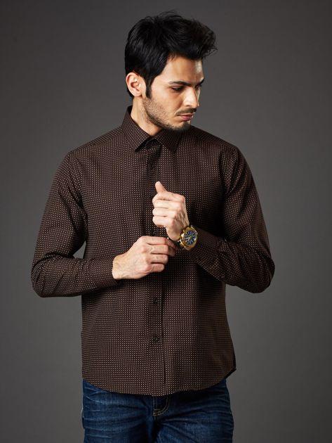 Brązowa koszula męska w kropki regular fit                              zdj.                              1