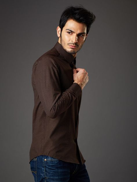 Brązowa koszula męska w kropki regular fit                              zdj.                              5