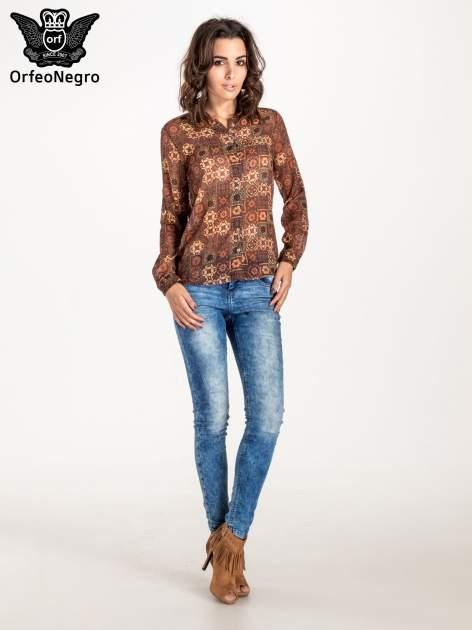 Brązowa koszula w kwiatowe ornamenty                                  zdj.                                  5