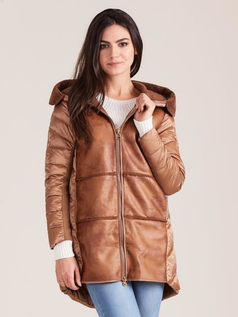 Brązowa kurtka ze skórzanymi wstawkami                              zdj.                              1