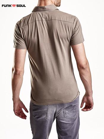 Brązowa męska koszulka polo z kieszonką Funk n Soul                                  zdj.                                  5