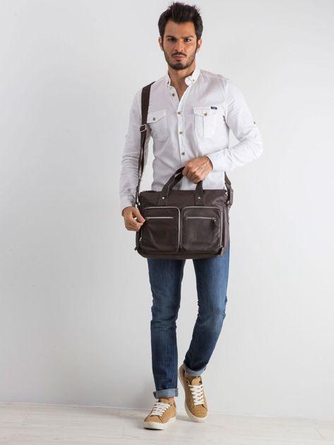 Brązowa męska torba z odpinanym paskiem                              zdj.                              4