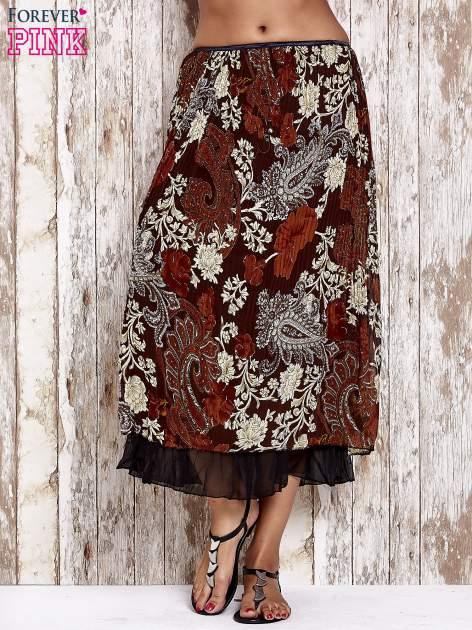 Brązowa plisowana spódnica midi z brokatem                                  zdj.                                  1
