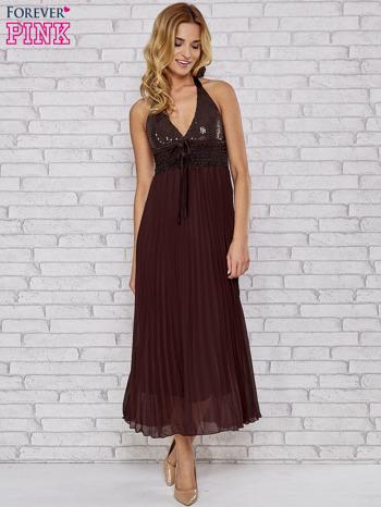Brązowa plisowana sukienka maxi wiązana na plecach                                  zdj.                                  4